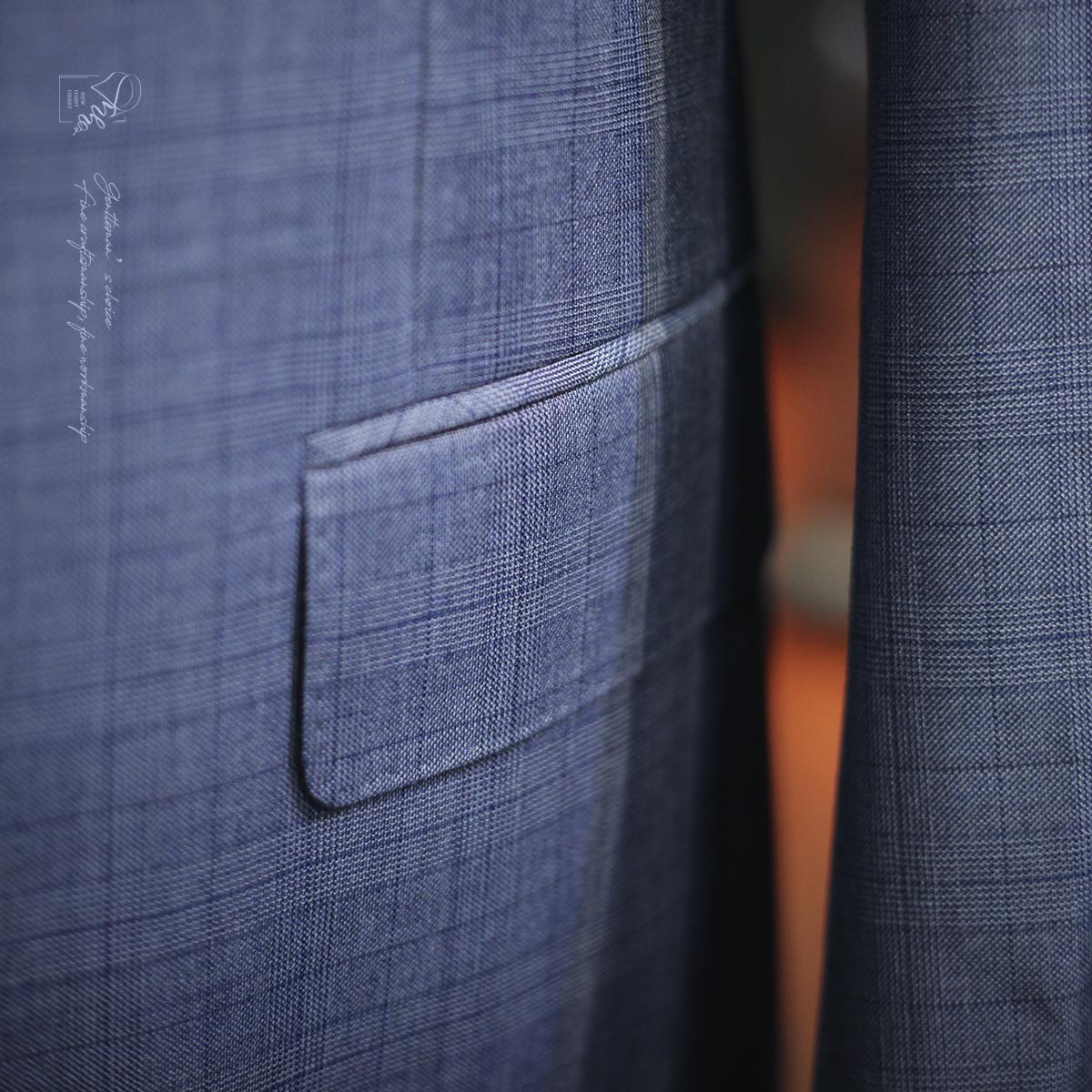 NHO2定制.BUABELLO格纹单西.口袋