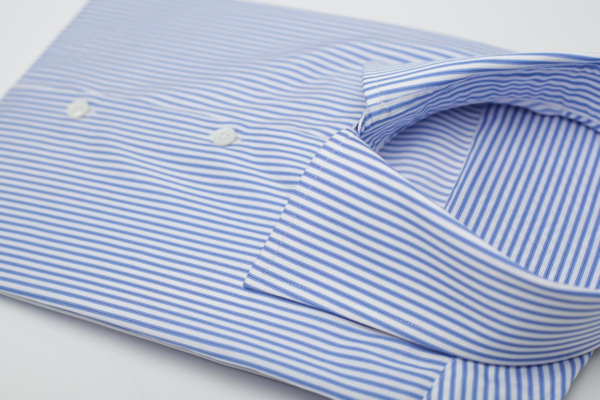 NHO2定制蓝色细条纹短袖衬衫