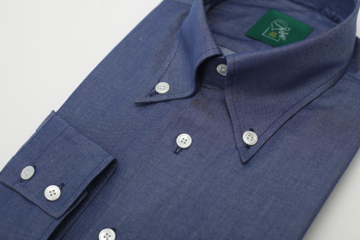 NHO2定制牛仔蓝大尖领领扣领衬衫