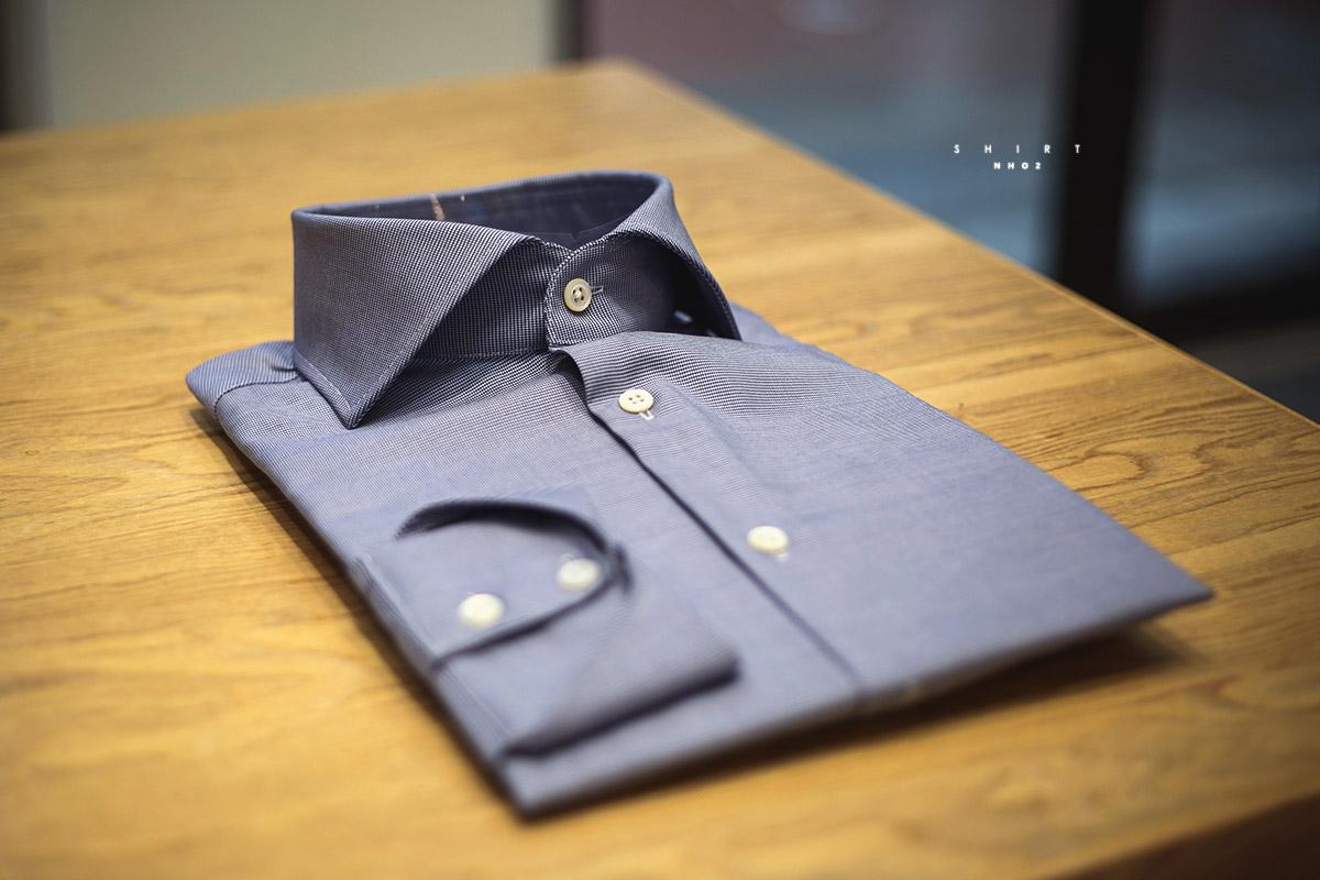 NHO2定制蓝色千鸟格意大利衬衫