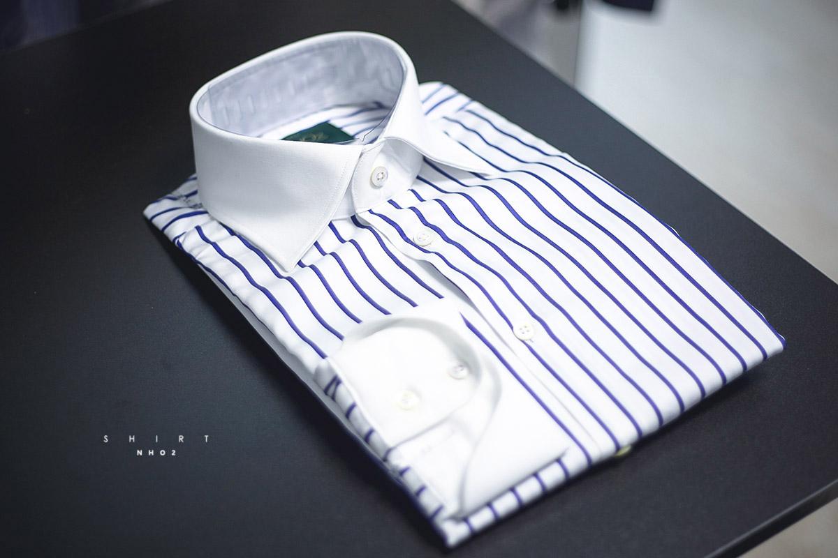 NHO2定制异色领米兰袖衬衫