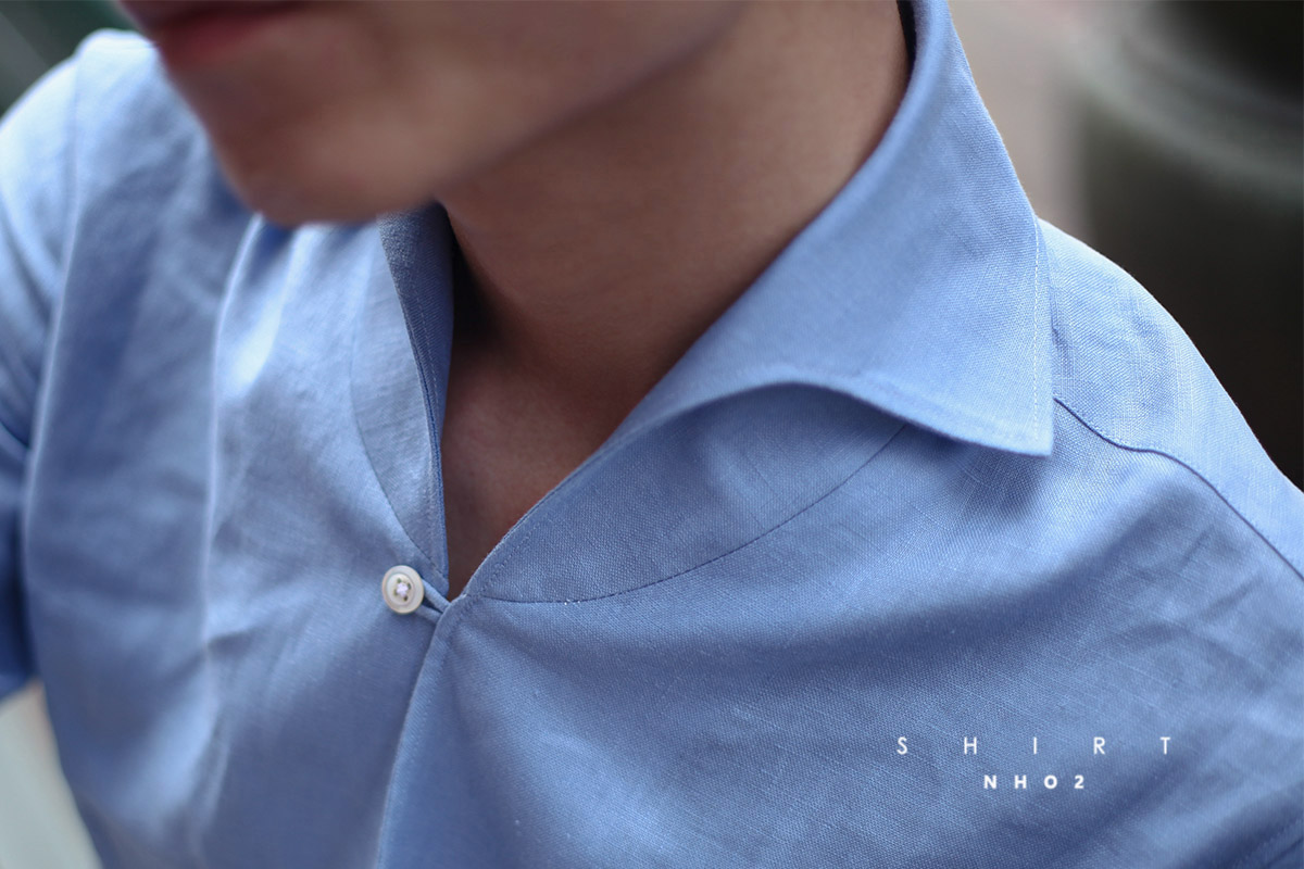 NHO2定制蓝色亚麻渔夫领衬衫