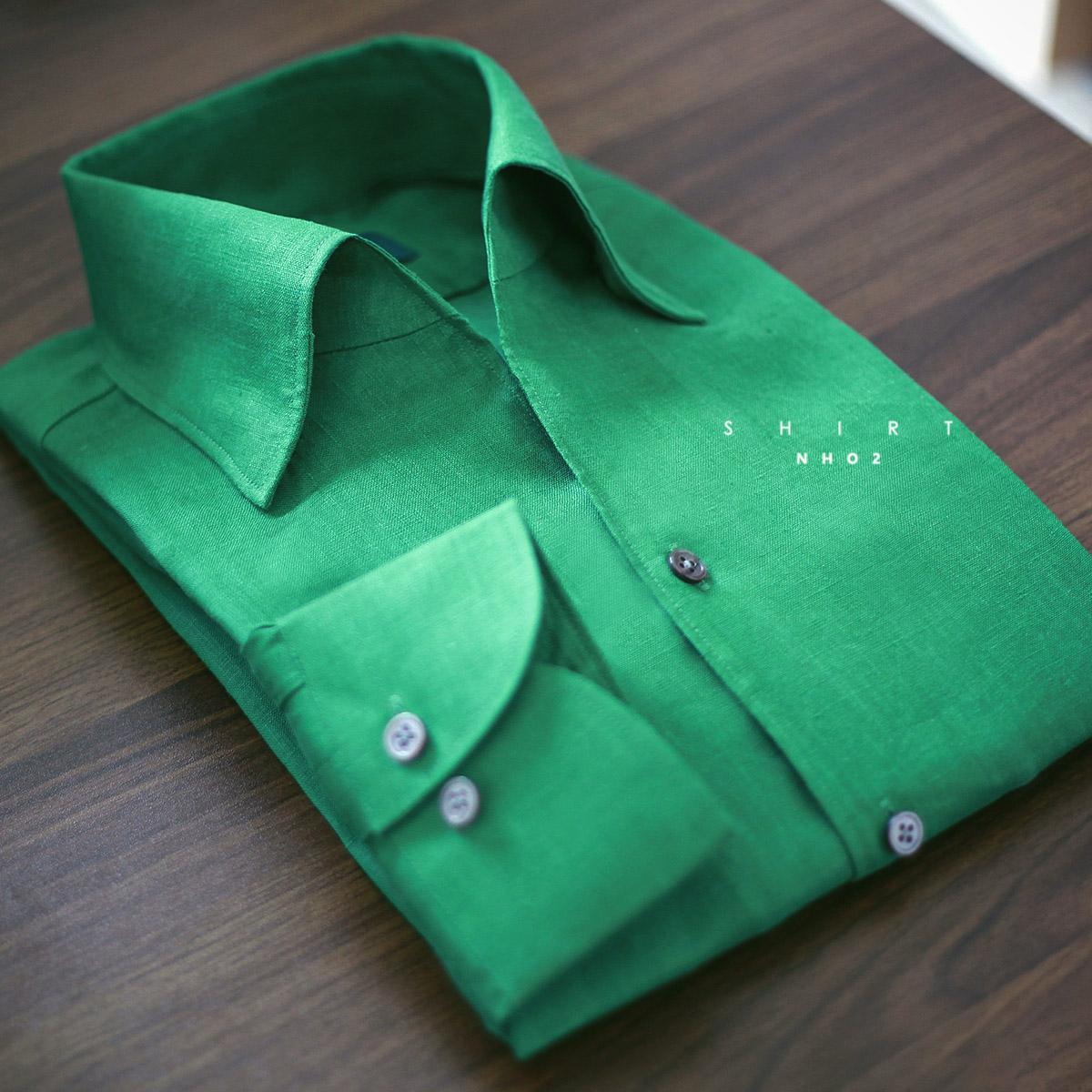 NHO2定制亮绿色一片领衬衫