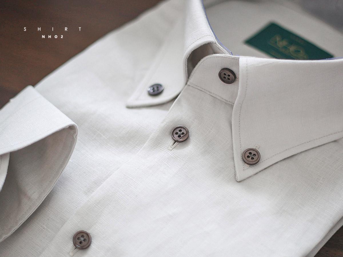 NHO2定制亚麻领扣领衬衫