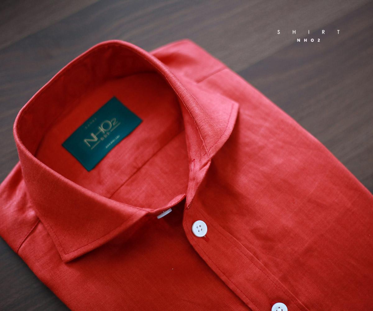 NHO2定制西瓜红亚麻衬衫