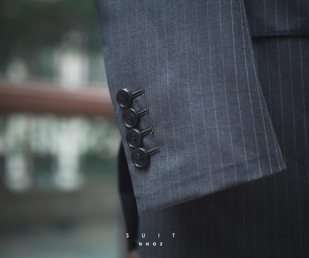 nho2定制深灰条纹那不勒斯西装