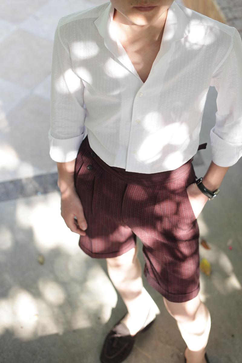 nho2 泡泡纱一片领衬衫搭配廓尔格短裤